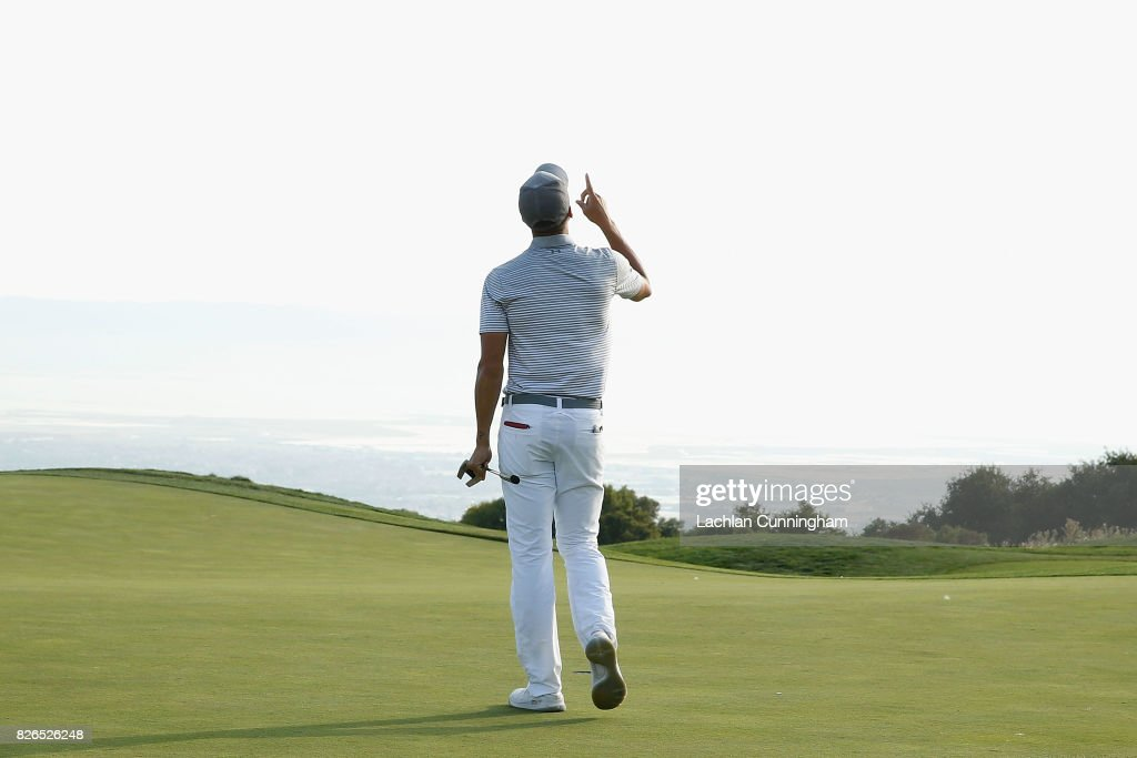 Stephen Curry celebrates a birdie on the fifteenth hole during round two of the Ellie Mae Classic at TCP Stonebrae on August 4, 2017 in Hayward, California.