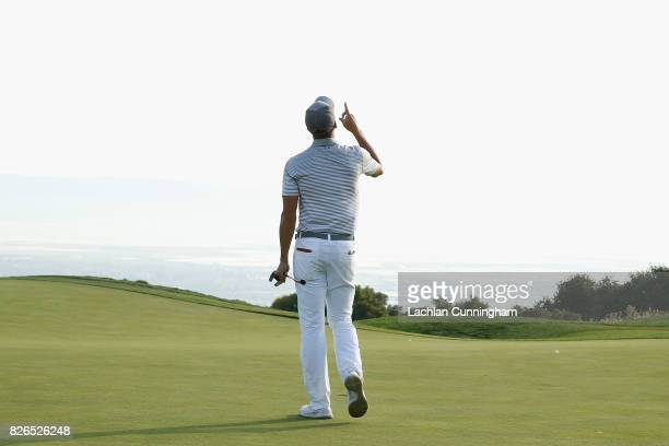 Stephen Curry celebrates a birdie on the fifteenth hole during round two of the Ellie Mae Classic at TCP Stonebrae on August 4 2017 in Hayward...