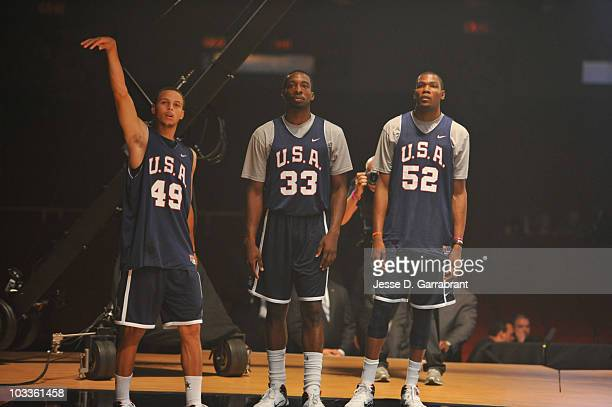 Stephen Curry, Jeff Green and Kevin Durant of the USA Men's National Team shoot around prior to the Nike World Basketball Festival on August 12, 2010...