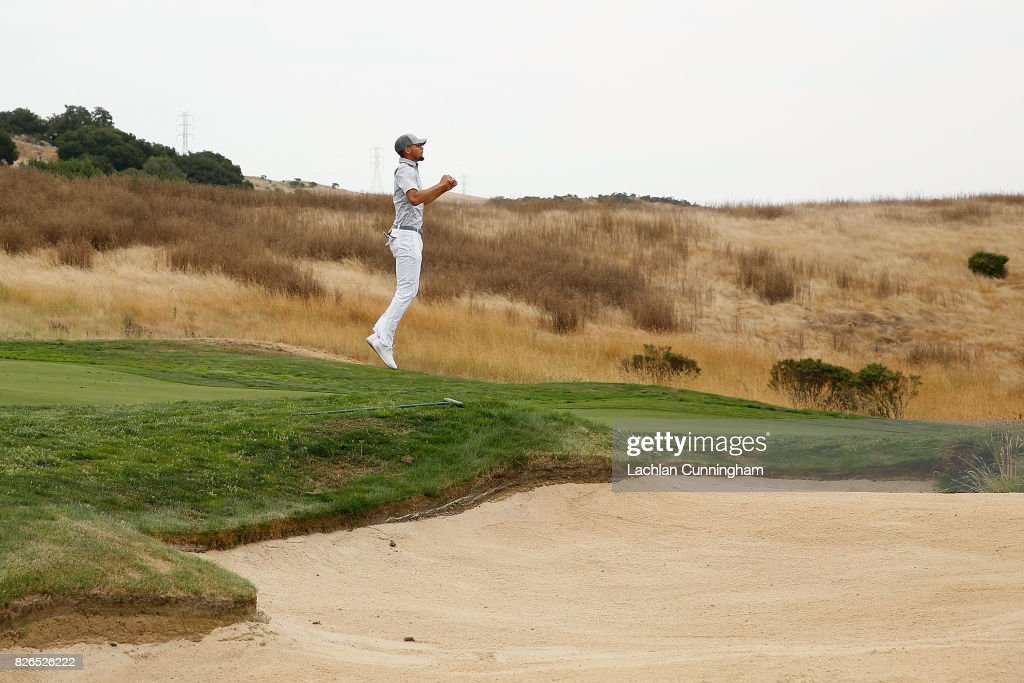 Stephen Curry jumps to see over a hill on the first hole during round two of the Ellie Mae Classic at TCP Stonebrae on August 4, 2017 in Hayward, California.