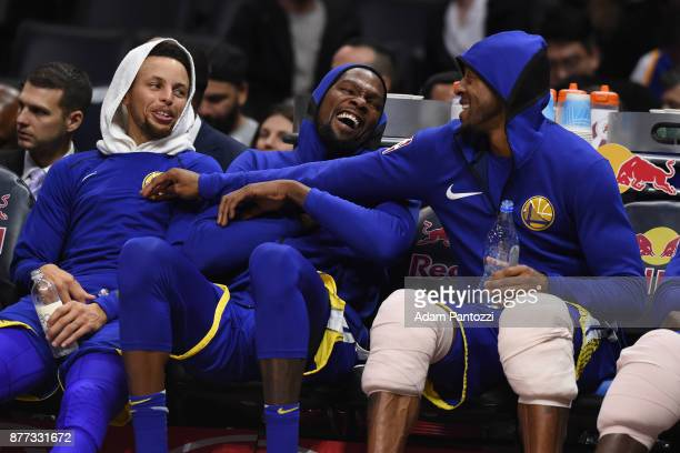 Stephen Curry Kevin Durant and Andre Iguodala of the Golden State Warriors talk during the game against the LA Clippers on October 30 2017 at STAPLES...