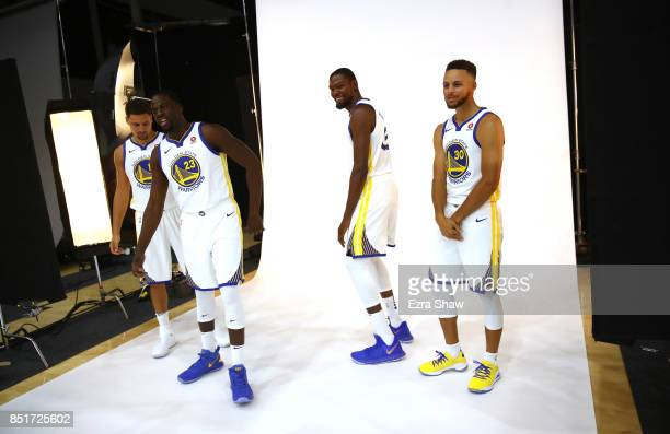 Stephen Curry Kevin Durant Draymond Green and Klay Thompson of the Golden State Warriors pose for a picture during the Golden States Warriors media...