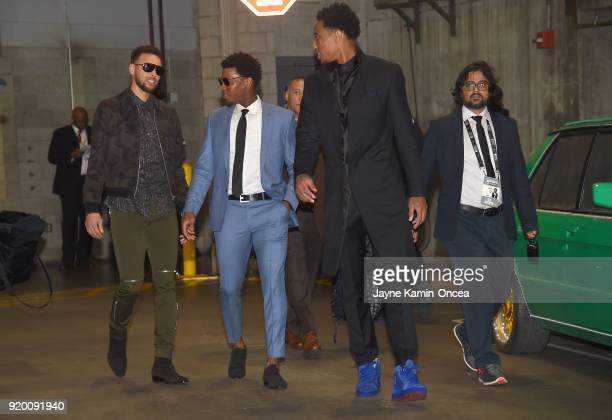 Stephen Curry Kyle Lowry and DeMar Derozan arrive to the NBA AllStar Game 2018 at Staples Center on February 18 2018 in Los Angeles California
