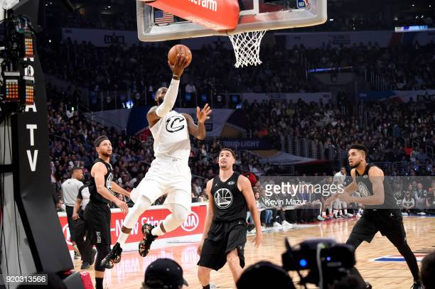 Stephen Curry LeBron James Klay Thompson and KarlAnthony Towns play during the 67th NBA AllStar Game Team LeBron Vs Team Stephen at Staples Center on...