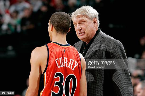 Stephen Curry listens to head coach Don Nelson of the Golden State Warriors during the game against the Portland Trail Blazers on January 2 2010 at...