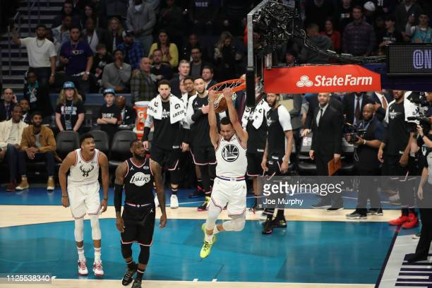 Stephen Curry of Team Giannis dunks during the 2019 NBA AllStar Game on February 17 2019 at the Spectrum Center in Charlotte North Carolina NOTE TO...
