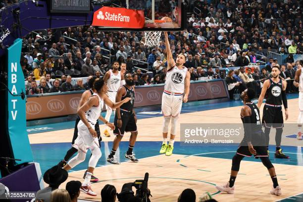 Stephen Curry of Team Giannis goes to the basket against Team LeBron during the 2019 NBA AllStar Game on February 17 2019 at the Spectrum Center in...
