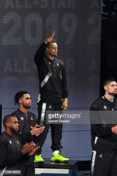 Stephen Curry of Team Giannis is introduced during the 2019 NBA AllStar Game on February 17 2019 at the Spectrum Center in Charlotte North Carolina...