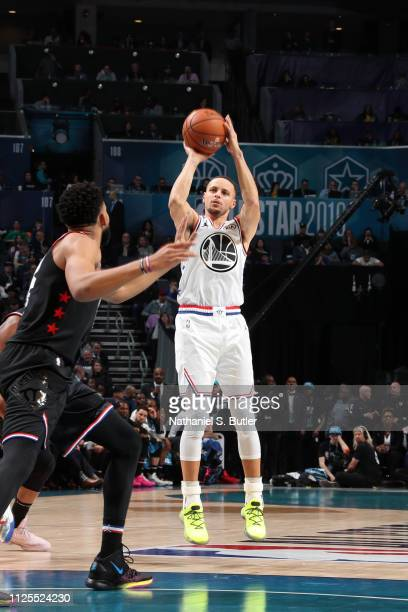 Stephen Curry of Team Giannis shoots a threepointer against Team LeBron during the 2019 NBA AllStar Game on February 17 2019 at the Spectrum Center...