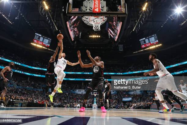 Stephen Curry of Team Giannis shoots the ball against Team LeBron during the 2019 NBA AllStar Game on February 17 2019 at the Spectrum Center in...