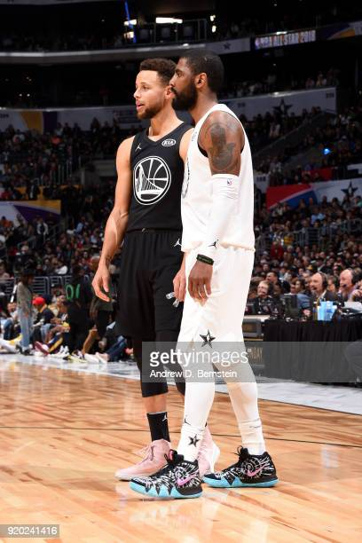 Stephen Curry Of Team Stephen and Kyrie Irving Of Team LeBron look on during the NBA AllStar Game as a part of 2018 NBA AllStar Weekend at STAPLES...