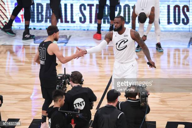 Stephen Curry of team Stephen and LeBron James of team LeBron speak to the crowd prior to the NBA AllStar Game as a part of 2018 NBA AllStar Weekend...
