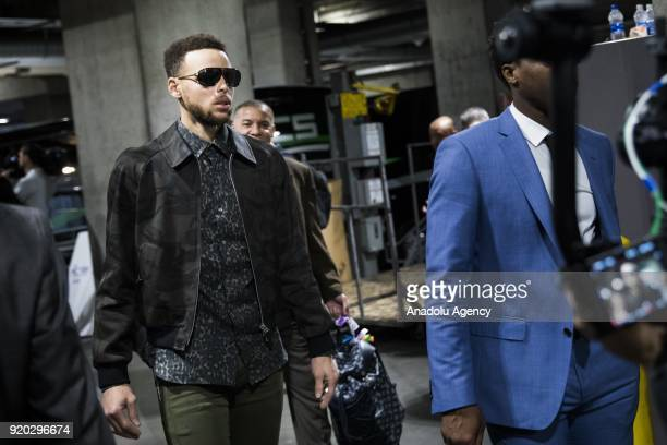 Stephen Curry of Team Stephen arrives ahead of the 2018 NBA AllStar Game at the Staples Center in Los Angeles California on February 18 2018