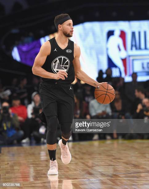Stephen Curry of Team Stephen dribbles the ball upcourt during the NBA AllStar Game 2018 at Staples Center on February 18 2018 in Los Angeles...