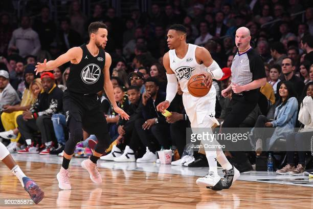 Stephen Curry of Team Stephen guards Russell Westbrook of Team LeBron during the NBA AllStar Game as a part of 2018 NBA AllStar Weekend at STAPLES...