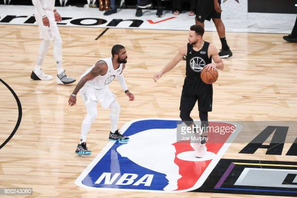 Stephen Curry of Team Stephen handles the ball against Team LeBron during the NBA AllStar Game as a part of 2018 NBA AllStar Weekend at STAPLES...