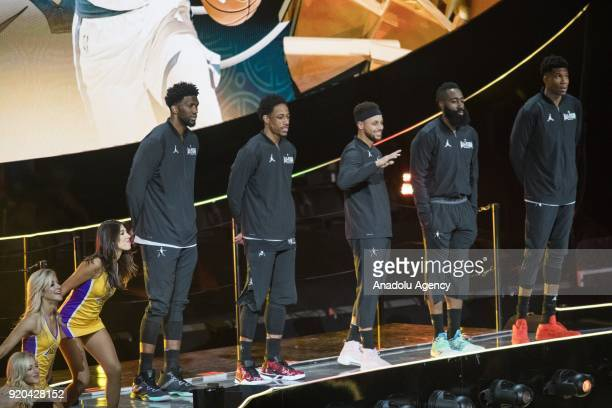 Stephen Curry of Team Stephen is introduced along with his starting line up before the start of the 2018 NBA AllStar Game at the Staples Center in...