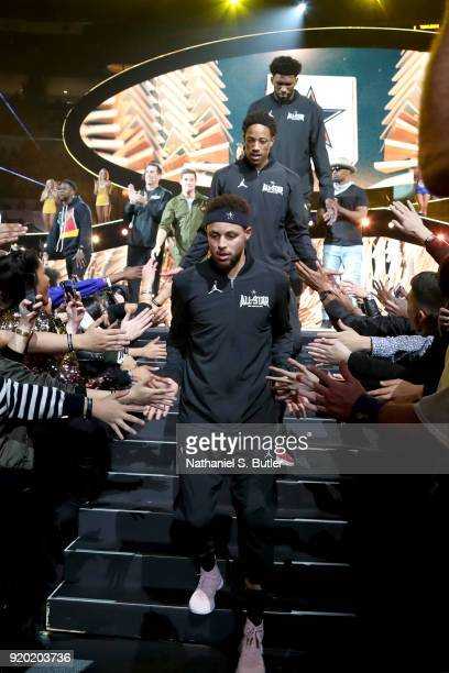 Stephen Curry of Team Stephen is introduced before the NBA AllStar Game as a part of 2018 NBA AllStar Weekend at STAPLES Center on February 18 2018...