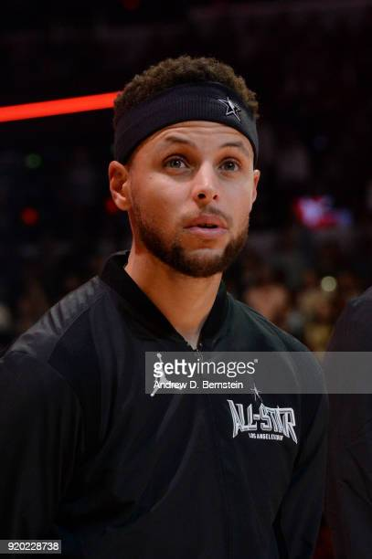 Stephen Curry Of Team Stephen looks on during the NBA AllStar Game as a part of 2018 NBA AllStar Weekend at STAPLES Center on February 18 2018 in Los...