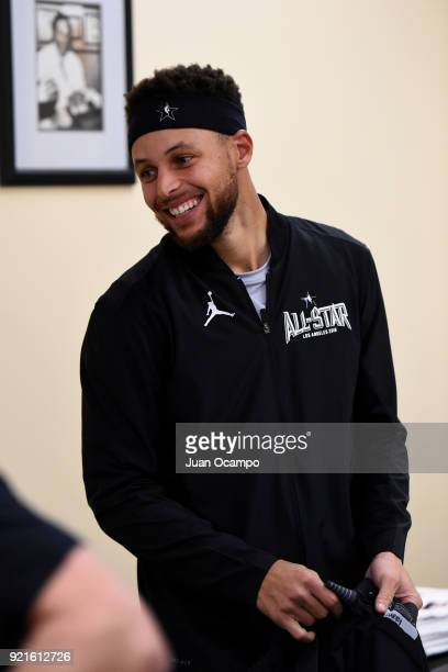 Stephen Curry of team Stephen looks on in the locker room prior to the NBA AllStar Game as a part of 2018 NBA AllStar Weekend at STAPLES Center on...