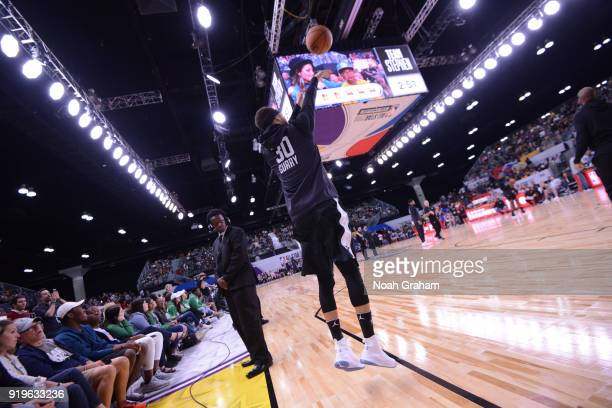 Stephen Curry of team Stephen shoots during the 2018 NBA All Star Practice as part of 2018 AllStar Weekend at Verizon Up Arena at LACC on February 17...