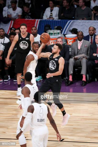 Stephen Curry of Team Stephen shoots the ball against Team LeBron during the NBA AllStar Game as a part of 2018 NBA AllStar Weekend at STAPLES Center...
