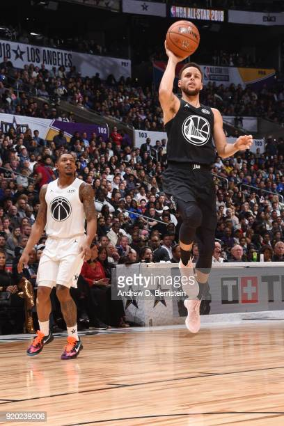 Stephen Curry Of Team Stephen shoots the ball during the NBA AllStar Game as a part of 2018 NBA AllStar Weekend at STAPLES Center on February 18 2018...