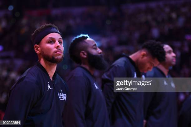 Stephen Curry of Team Stephen stands on the court for the National Anthem before the NBA AllStar Game as a part of 2018 NBA AllStar Weekend at...