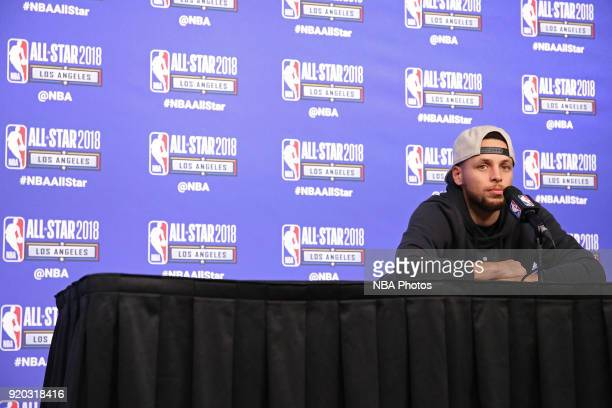 Stephen Curry of Team Stephen talks to the media during a press conference after the NBA AllStar Game as a part of 2018 NBA AllStar Weekend at...