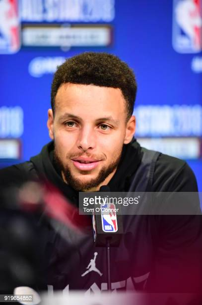 Stephen Curry of Team Stephen talks to the media during NBA AllStar Practice and Media Day as part of 2018 NBA AllStar Weekend on February 17 2018 at...