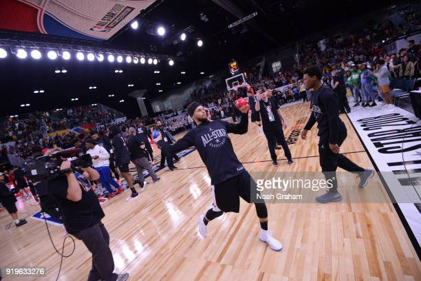 Stephen Curry of team Stephen throws out basketballs during the 2018 NBA All Star Practice as part of 2018 AllStar Weekend at Verizon Up Arena at...