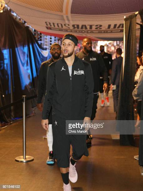 Stephen Curry of team Stephen walks into the arena during the NBA AllStar Game as a part of 2018 NBA AllStar Weekend at STAPLES Center on February 18...