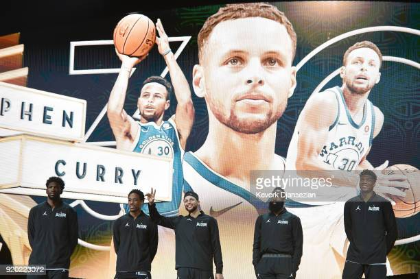 Stephen Curry of Team Stephen waves to the fans during player introductions prior to the NBA AllStar Game 2018 at Staples Center on February 18 2018...