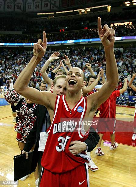 Stephen Curry of the Davidson Wildcats celebrates after a 82-76 victory over the Gonzaga Bulldogs during the 1st round of the 2008 NCAA Men's...