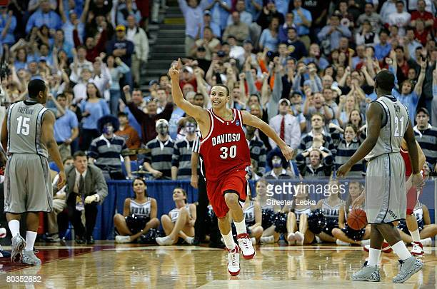 Stephen Curry of the Davidson Wildcats celebrates after a victory over the Georgetown Hoyas during the second round of the 2008 NCAA Men's Basketball...