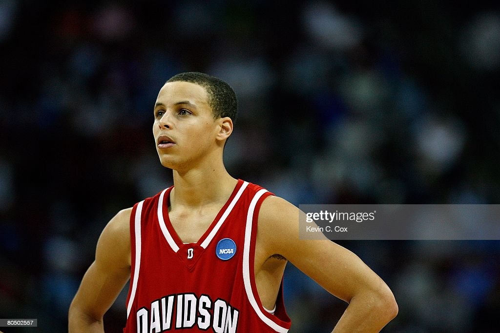 Stephen Curry #30 of the Davidson Wildcats looks on against the Georgetown Hoyas during the 2nd round of the East Regional of the 2008 NCAA Men's Basketball Tournament at RBC Center on March 23, 2008 in Raleigh, North Carolina. The Wildcats defeated the Hoyas 74-70.