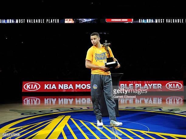 Stephen Curry of the Golden State Warriors after receiving the Maurice Podoloff MVP trophy before the game against the Portland Trail Blazers in Game...