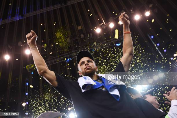 Stephen Curry of the Golden State Warriors after winning the NBA Championship in Game Five against the Cleveland Cavaliers of the 2017 NBA Finals on...
