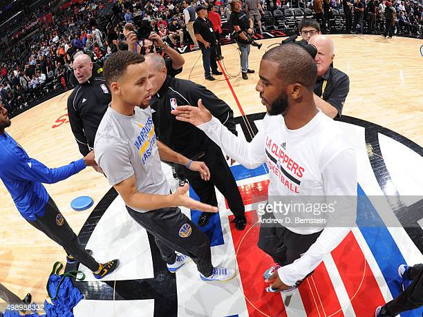 Stephen Curry of the Golden State Warriors and Chris Paul of the Los Angeles Clippers before the game at STAPLES Center on November 19 2015 in Los...