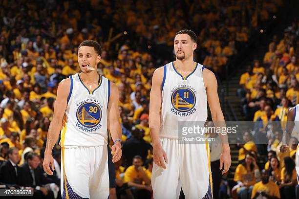 Stephen Curry of the Golden State Warriors and Klay Thompson of the Golden State Warriors during Game One of the Western Conference Quarterfinals...