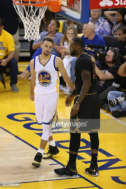 Stephen Curry of the Golden State Warriors and LeBron James of the Cleveland Cavaliers during Game Seven of the 2016 NBA Finals on June 19 2016 at...