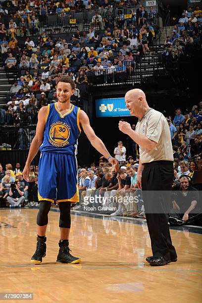Stephen Curry of the Golden State Warriors and NBA Referee Joe Crawford speak during a game against the Memphis Grizzlies in Game Six of the Western...