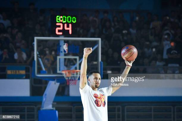 Stephen Curry of the Golden State Warriors and Seth Curry of the Dallas Mavericks host a Jr NBA Clinic to celebrate 30 Elites Day at the Beijing...
