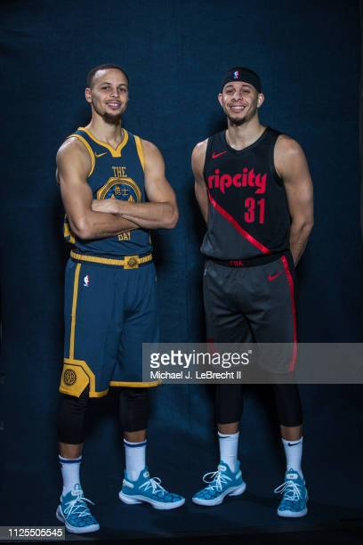 Stephen Curry of the Golden State Warriors and Seth Curry of the Portland Trail Blazers pose for a portrait during the 2019 State Farm AllStar...
