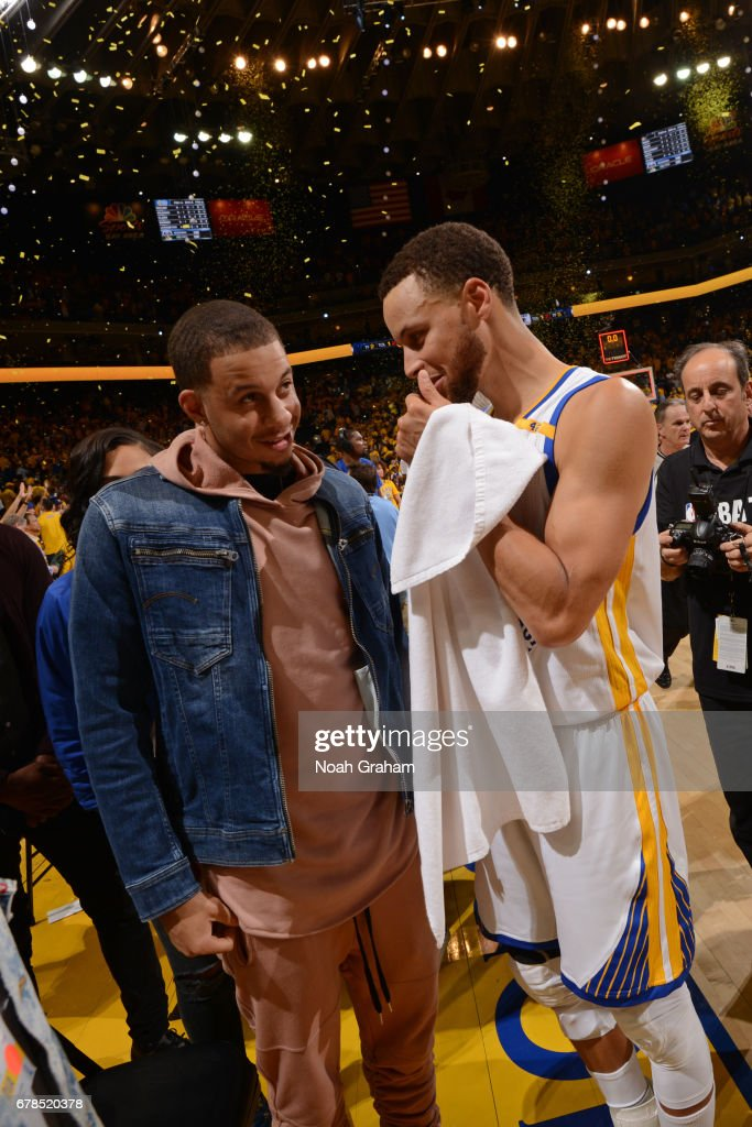 Stephen Curry #30 of the Golden State Warriors and Seth Curry #30 of the Dallas Mavericks shake hands after Game One of the Western Conference Semifinals against the Utah Jazz during the 2017 NBA Playoffs on May 2, 2017 at ORACLE Arena in Oakland, California.