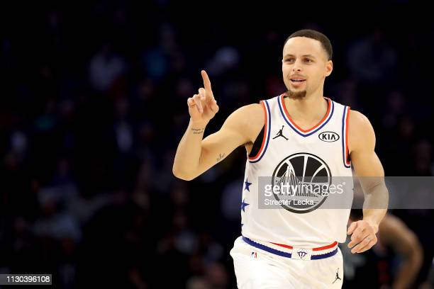 Stephen Curry of the Golden State Warriors and Team Giannis reacts against Team LeBron in the second quarter during the NBA All-Star game as part of...