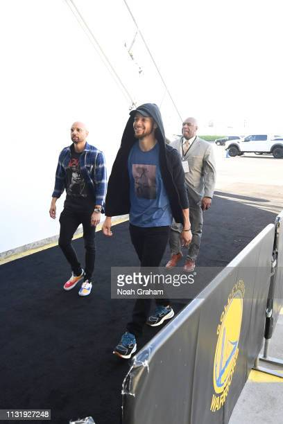 Stephen Curry of the Golden State Warriors arrives at the arena before the game against the Indiana Pacers on March 21 2019 at ORACLE Arena in...