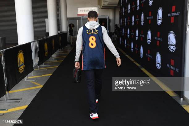 Stephen Curry of the Golden State Warriors arrives at the arena before the game against the LA Clippers on April 7 2019 at ORACLE Arena in Oakland...