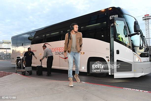Stephen Curry of the Golden State Warriors arrives at the arena before the game against the Denver Nuggets on November 10 2016 at the Pepsi Center in...