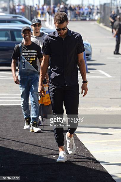 Stephen Curry of the Golden State Warriors arrives before Game Five of the Western Conference Finals against the Oklahoma City Thunder during the...